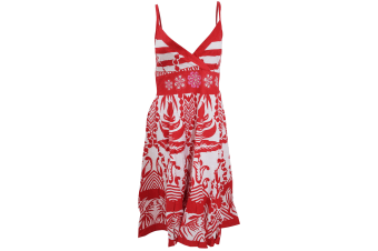 Womens/Ladies Large Paisley Pattern Strappy Crossover Summer Dress (Red/White)