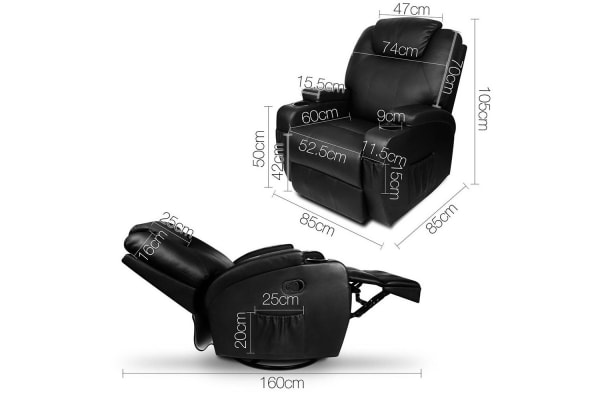 Faux Leather Massage Recliner Chair (Black)