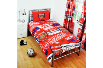 Arsenal FC Childrens/Kids Official Patch Football Crest Duvet Set (Red)