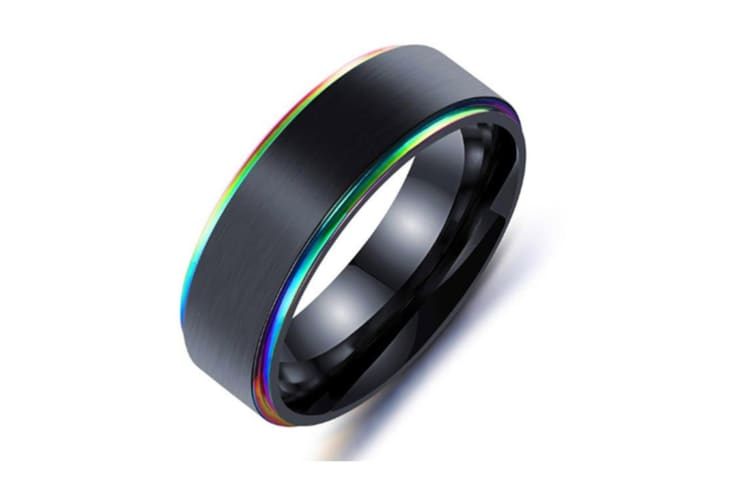 7MM Titanium Steel Mens Promise Black  Colored edges Rings Bands