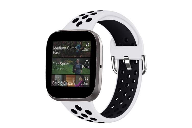 Select Mall Smart Watch Wristband 2-color Silicone Strap Reverse Buckle Watch Band for Fitbit Versa 2 1-9