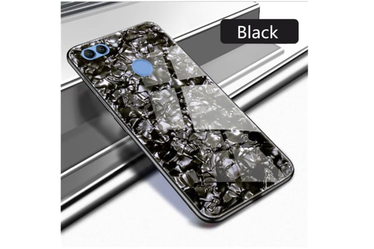 Shiny Seashell Pattern Tempered Glass Hard Back Cover Shell For Huawei Black P20Pro/P20Plus