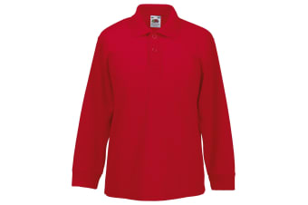 Fruit Of The Loom Childrens Long Sleeve 65/35 Pique Polo / Childrens Polo Shirts (Red)