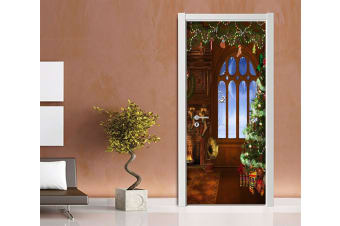 3D Wonderful Christmas Xmas 7 Door Mural Woven paper (need glue)