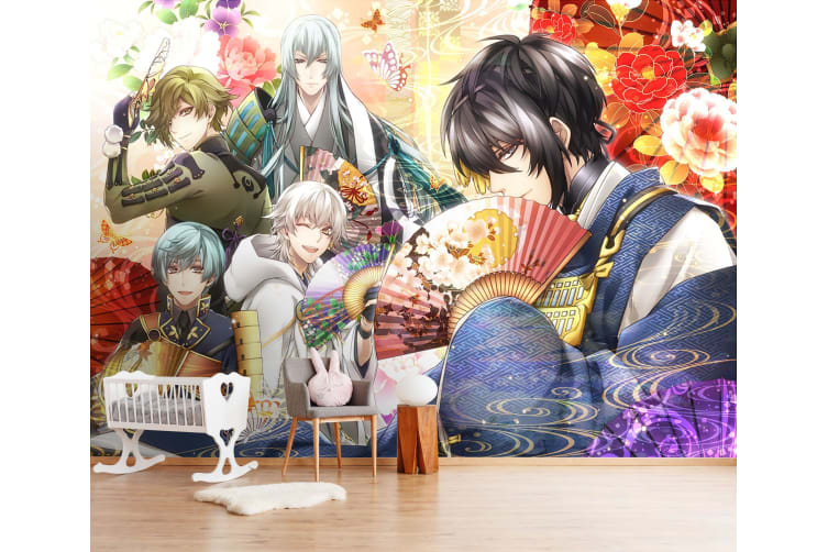 3D Fan Half Cover 48 Anime Wall Murals Woven paper (need glue), XXL 312cm x 219cm (WxH)(123''x87'')