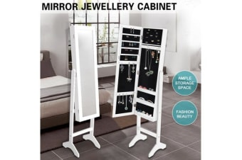 Mirror Jewellery Cabinet Makeup Storage WHITE