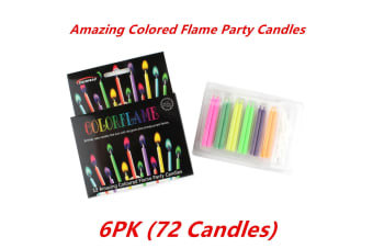 6pk COLORED CAKE CANDLES COLOR FLAME AND HOLDERS BIRTHDAY PARTY 5.5CM BOYS N GIRLS