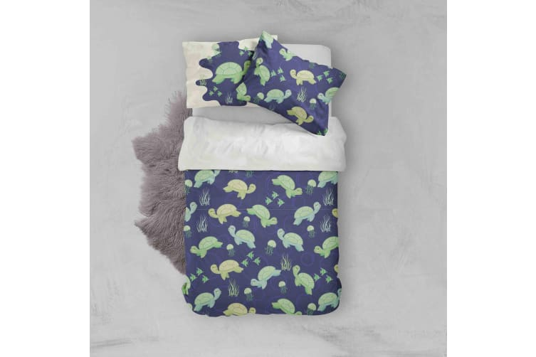 3D Cartoon Green Turtle Quilt Cover Set Bedding Set Pillowcases 105-Queen