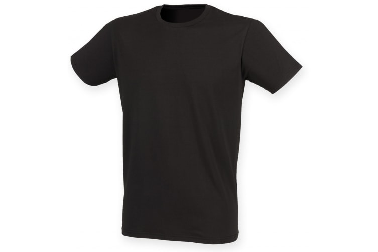Skinni Fit Men Mens Feel Good Stretch Short Sleeve T-Shirt (Black) (XS)