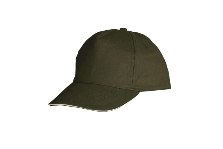 SOLS Unisex Sunny 5 Panel Baseball Cap (Army/Beige) (ONE)