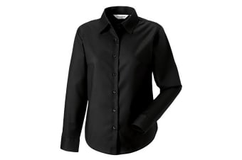 Russell Collection Ladies/Womens Long Sleeve Easy Care Oxford Shirt (Black) (XS)