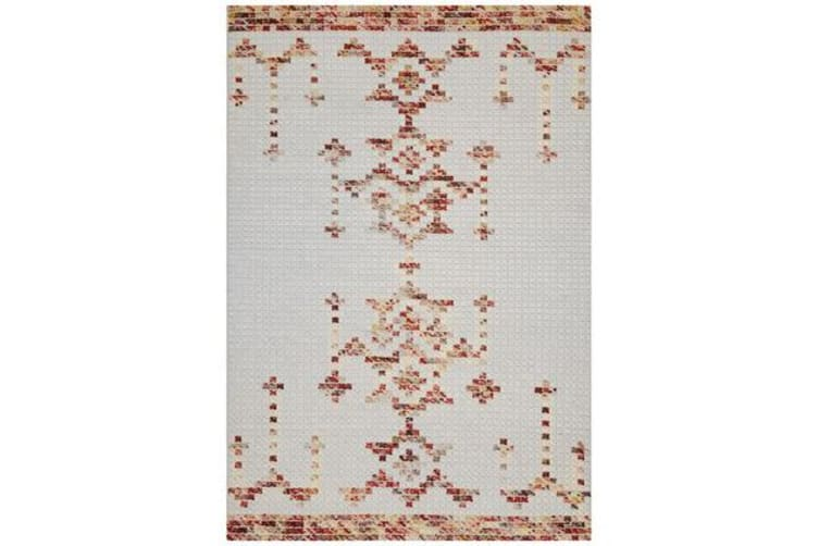 Ryder Natural White & Ombre Cross Stitch Wool Rug 225x155cm