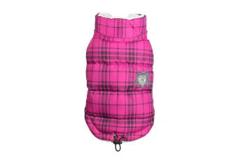 Hip Doggie Plaid Shearling Puffer Vest (Pink)