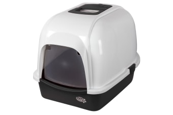 Pet Brands Oval Cat Litter Tray With Hood (White) (One Size)