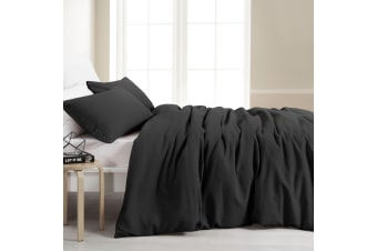 Dreamaker Amber Waffle Quilt Cover Set Queen Bed Charcoal