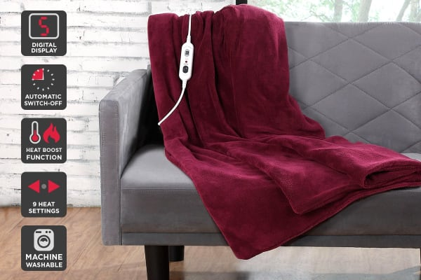 Ovela Luxury Heated Electric Throw (Burgundy)