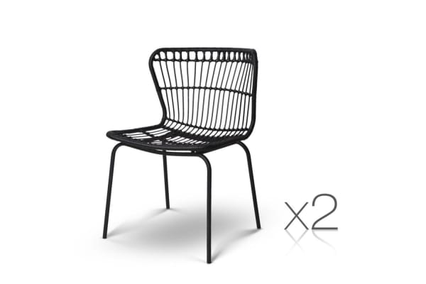 Set of 2 Rattan Curved Back Dining Chairs (Black)
