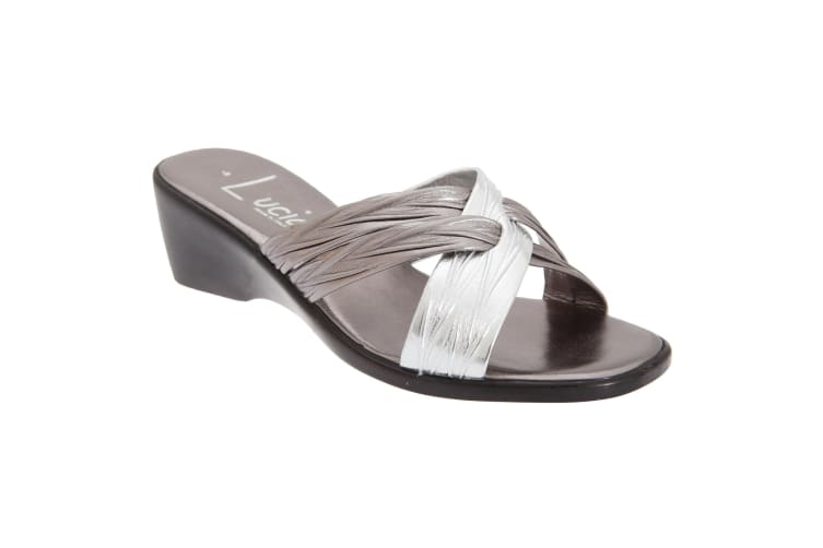 Lucia Womens/Ladies X Over Mule Sandals (Pewter/Silver) (5 UK)
