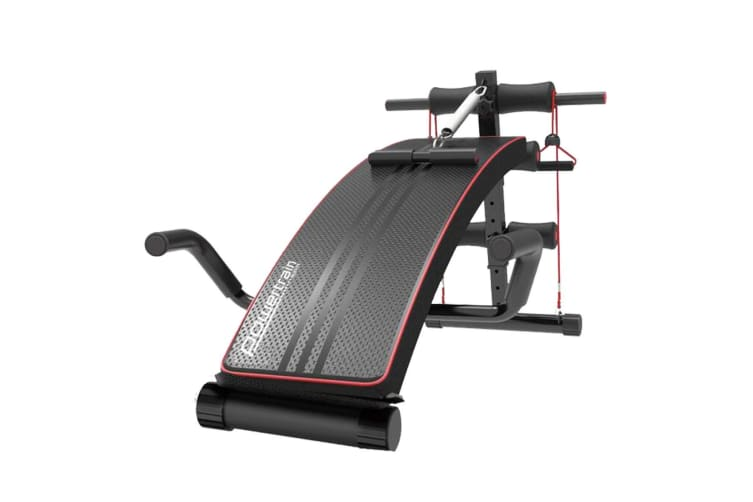 PowerTrain Inclined Sit up bench with Resistance bands Push up Bars