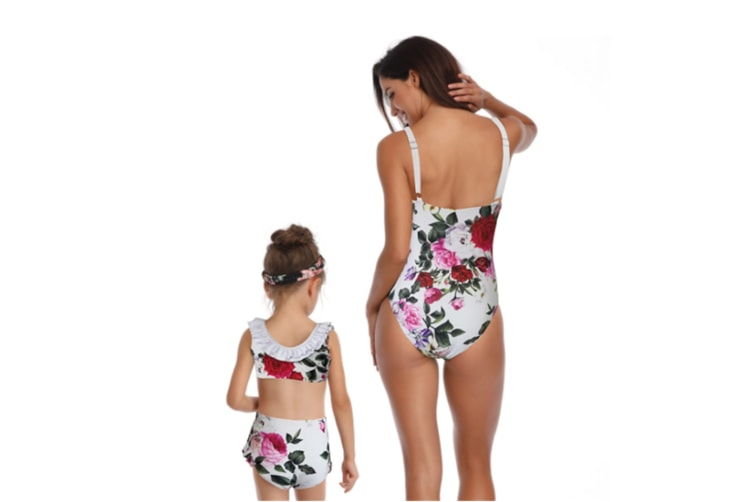 Bikini Set Family Matching Swimwear Mommy And Daughter Swimsuit White 116