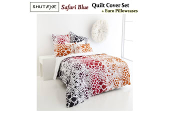 Safari Red DOUBLE Quilt Cover Set + Euro Pillowcases by Shuteye