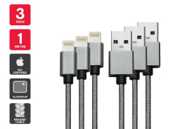 3 Pack Apple MFI Certified Braided Lightning to USB Cable (1m)