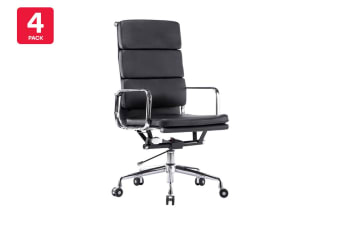 4 Pack Ergolux Executive Eames Replica High Back Padded Office Chair (Black)