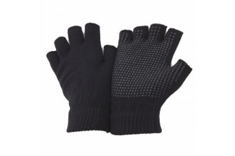 FLOSO Unisex Fingerless Magic Gloves With Grip (Black) (One Size Fits All)