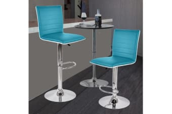 2x PU Leather Swivel Bar stool Gas Lift Adjustable TEAL (ED0205)