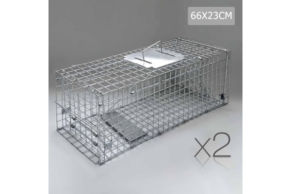 Set of 2 Humane Animal Trap Cage 66 x 23 x 25cm (Silver)
