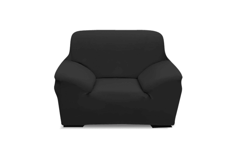 Easy Fit Stretch 1/2/3/4 Seater Couch Sofa Slipcovers Protectors Covers Washable  -  1-Seater in Black