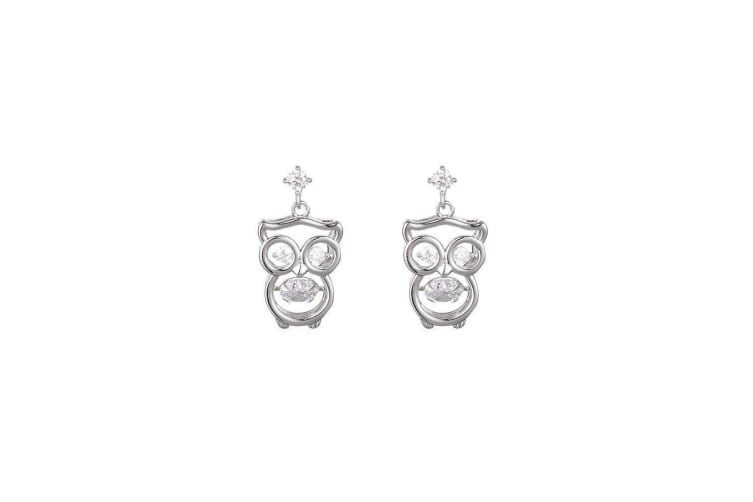 Fable Womens/Ladies Diamante Owl Earrings (Silver) (One Size)