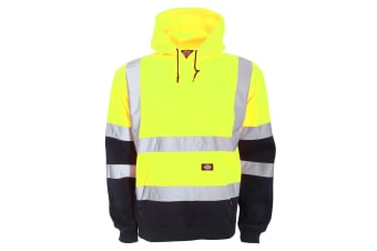 Dickies Mens Hi Vis Two Tone Hooded Sweatshirt (Yellow/Navy) (4XL)