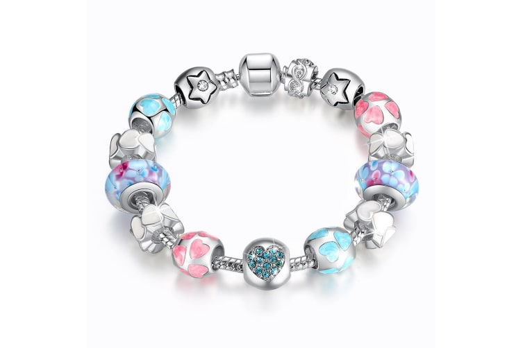 Pandora Inspired Full Set Beaded Charm Bracelet-Multicolour