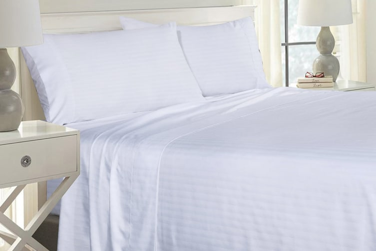 Royal Comfort 1000TC Blended Bamboo Bed Sheet Set with Stripes (Double, White)