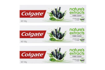 3x Colgate 100g Nature Extracts Pure Clean Charcoal + Mint Fluoride Toothpaste