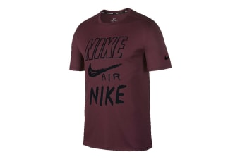Nike Breathe Run Men's T-Shirt (Burgandy, Size S)