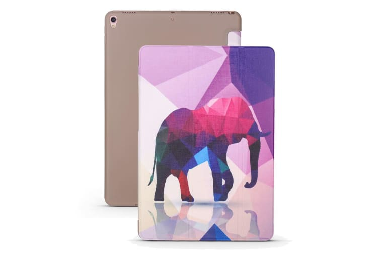 For iPad Air 3 (2019) Case Folio PU Leather + TPU 3-fold Holder Cover Elephant