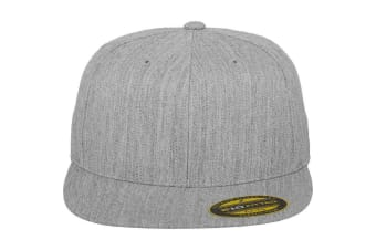Yupoong Flexfit Unisex Premium 210 Fitted Flat Peak Cap (Pack of 2) (Heather Grey) (SM)