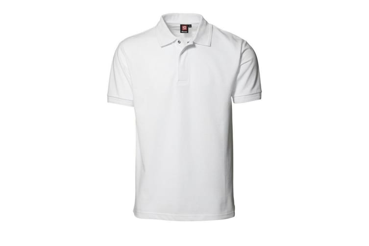 ID Mens Pro Wear Press Stud Regular Fitting Short Sleeve Polo Shirt (White) (S)