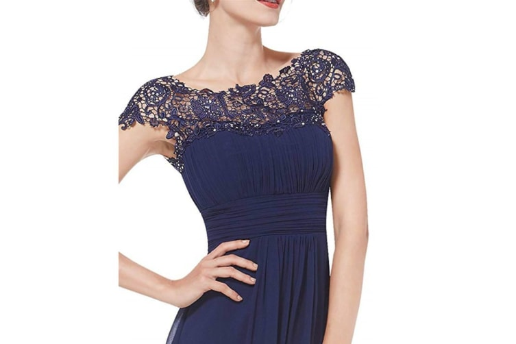 Womens Cap Sleeve Lace Neckline Ruched Bust Evening Gown Navy Xl