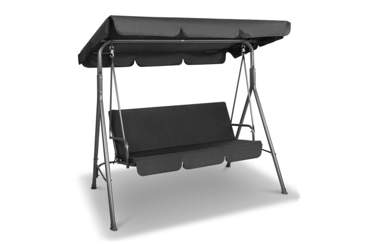 Astounding Milano Outdoor Swing Bench Seat Chair Canopy Furniture 3 Seater Garden Hammock Black Camellatalisay Diy Chair Ideas Camellatalisaycom