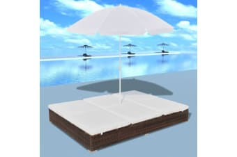 vidaXL Outdoor Lounge Bed with Umbrella Poly Rattan Brown