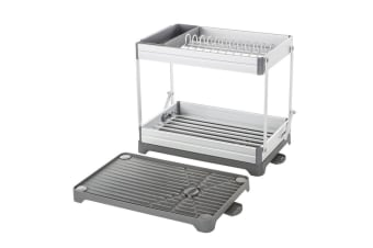 Davis & Waddell 49.5cm Remo Expandable Collapsible Two Tier Dish Dishes Rack GRY