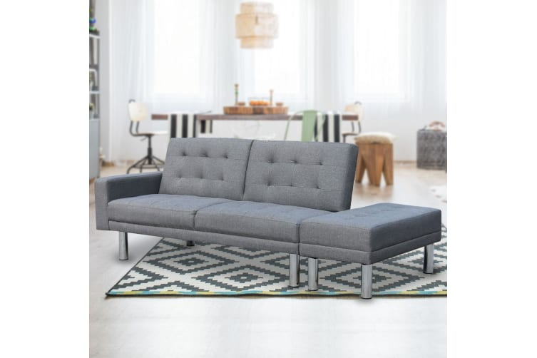 3 Seater Linen Sofa Bed Convertible Couch with Ottoman - Grey