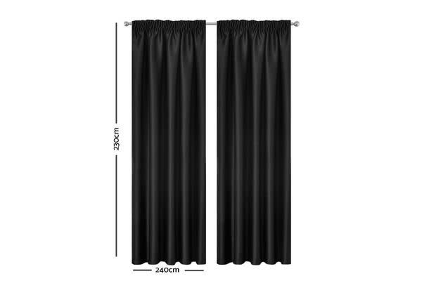 Artqueen 2x Pinch Pleat Blackout Blockout Curtains Room Darkening 240x230cm (Black)