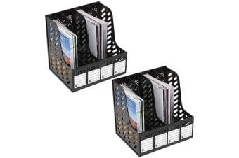 2PK Marbig Magazine/Papers/Documents 4 Section Rack/Organiser Home/Office Black