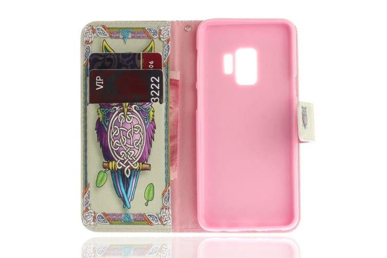 For Samsung Galaxy S9 Wallet Case Stylish Owl Pattern High-Quality Leather Cover