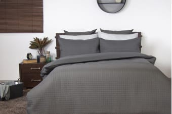 Ardor Boudoir Quilted Quilt Cover Set (Charcoal)