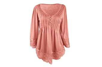 Women's Flare Sleeve Lace Splice Loose Trim Casual Blouse T-shirt Tops 4XL